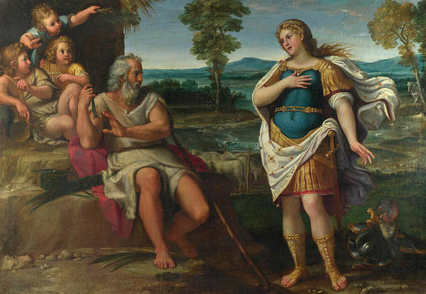 Waterway Painting - Erminia Takes Refuge With The Shepherds by Circle of Annibale Carracci