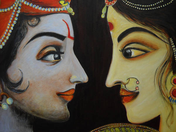 Indian God Painting - Eternal Lovers - Radha Krishna by Rashmi Rao