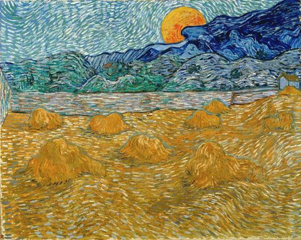 Painting - Evening Landscape With Rising Moon by Vincent Van Gogh