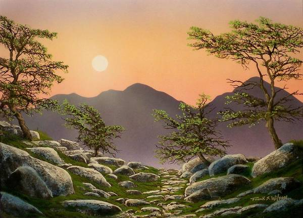Alpine Meadow Painting - Evening Moonrise by Frank Wilson