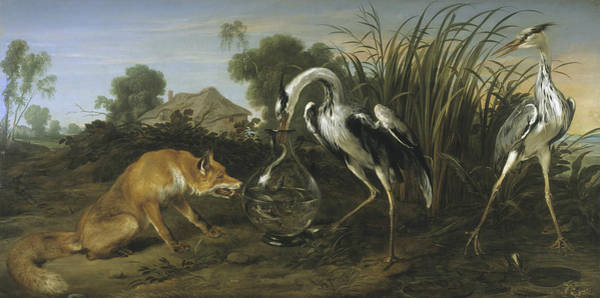 17th Century Wall Art - Painting - Fable Of The Fox And The Heron by Frans Snyders