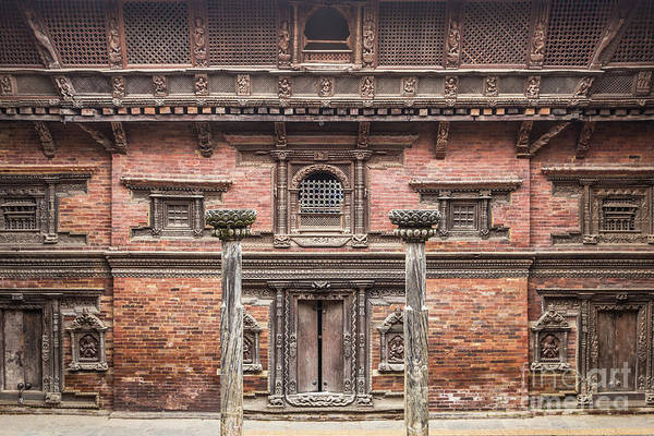 Photograph - Facade Of An Ancient Traditional Newar Building In Patan Durbar  by Didier Marti