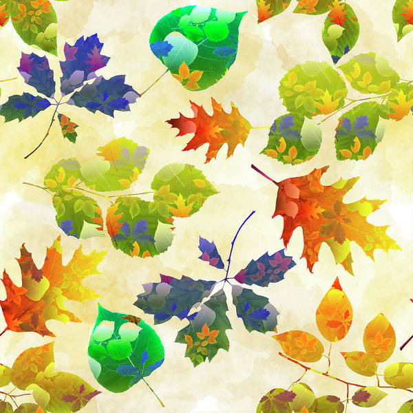 Wall Art - Mixed Media - Fall Leaf Pattern by Christina Rollo