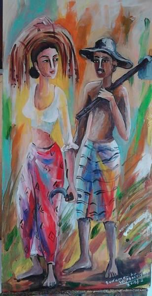 Wall Art - Painting - Family by Sudumenike Wijesooriya