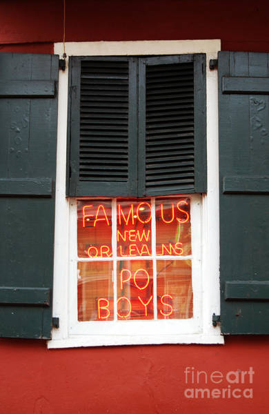 Wall Art - Photograph - Famous New Orleans Po Boys Red Neon Window Sign  by Shawn O'Brien