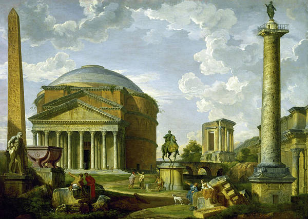 Painting - Fantasy View With The Pantheon And Other Monuments Of Ancient Rome by Giovanni Paolo Panini