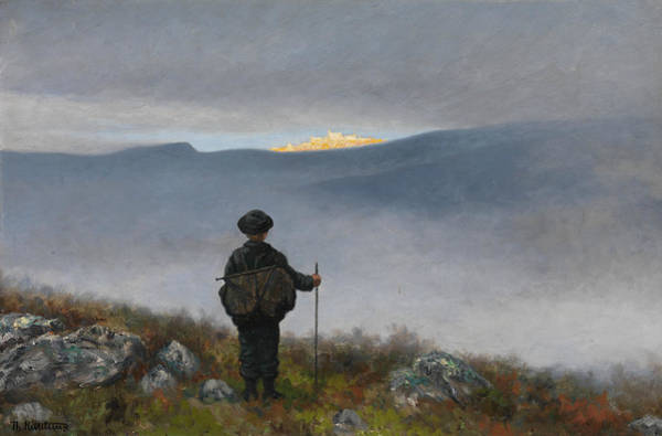 Far Away Wall Art - Painting - Far, Far Away Soria Moria Palace Shimmered Like Gold by Theodor Kittelsen