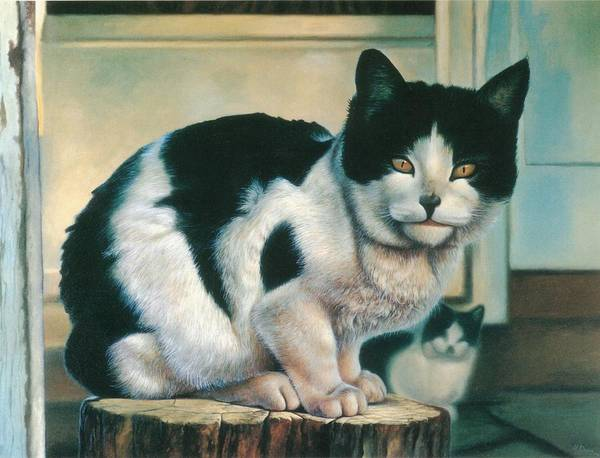 Painting - Farm Cat by Hans Droog