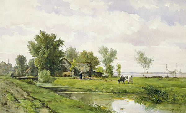 Ditch Painting - Farm On A Ditch by Willem Roelofs