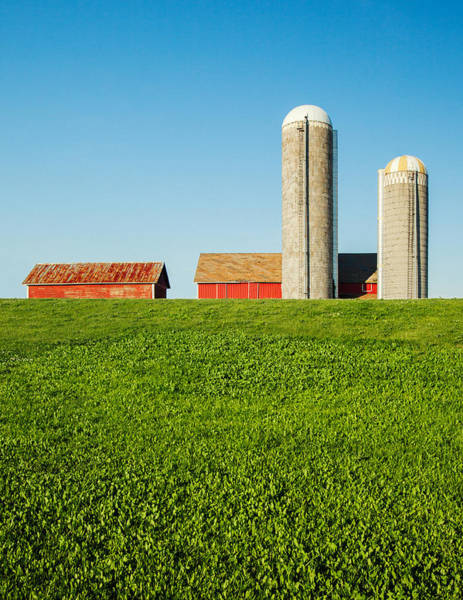 Silo Photograph - On Green And Blue by Todd Klassy