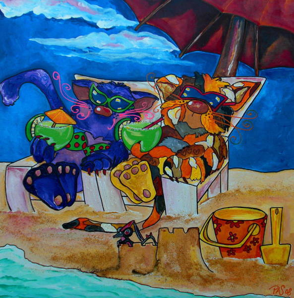 Fat Cat Painting - Fat Cats Catchin Rays by Patti Schermerhorn