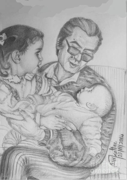 Spontaneous Drawing - Fatherhood by Mohammad Hayssam Kattaa