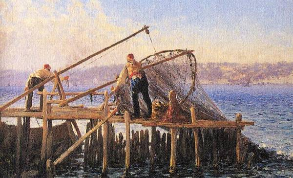 Fausto Zonaro Painting - Fausto Zonaro Fishing by Eastern Accents