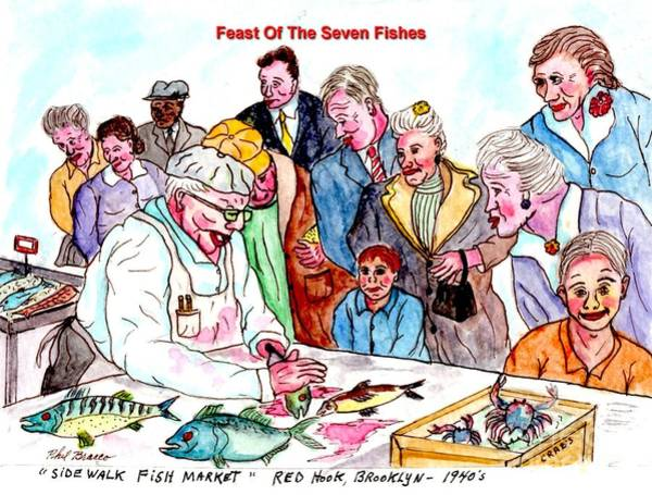 Mixed Media - Feast Of The Seven Fishes by Philip Bracco