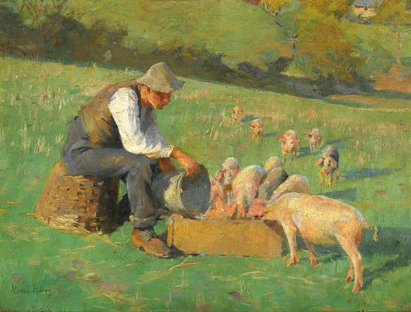 Newlyn Painting - Feeding Time by Harold Harvey
