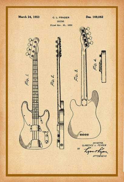 Photograph - Fender Bass Guitar Patent Drawing by Carlos Diaz