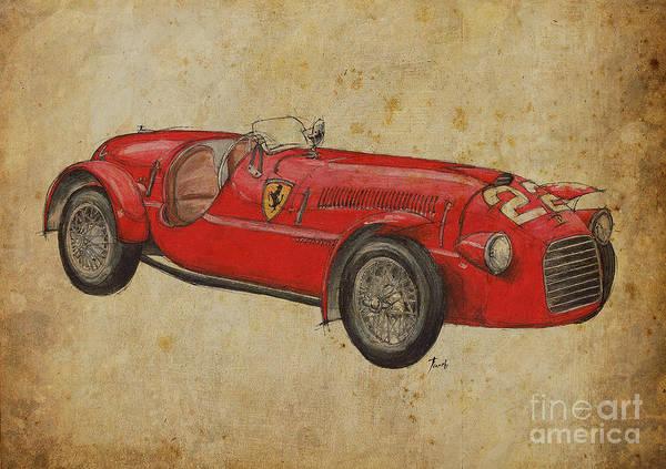 Vintage Car Drawing - Ferrari 166s by Drawspots Illustrations