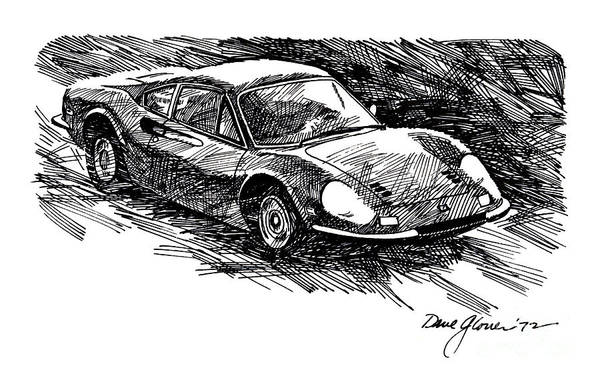 Drawing - Ferrari Dino by David Lloyd Glover