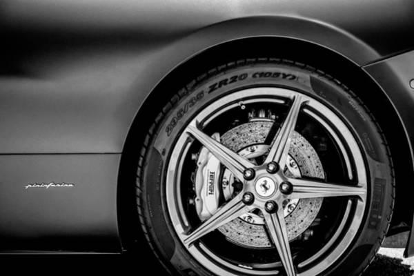 Wall Art - Photograph - Ferrari Wheel Emblem -1526bw by Jill Reger