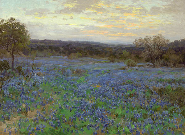 Wall Art - Painting - Field Of Bluebonnets At Sunset by Julian Onderdonk