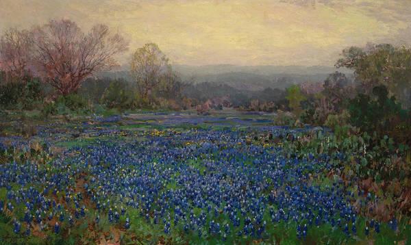 Bonnet Painting - Field Of Bluebonnets by Julian Onderdonk