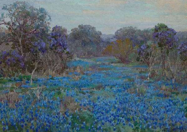Painting - Field Of Bluebonnets With Trees by Julian Onderdonk