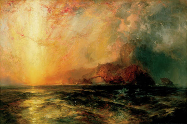 Wall Art - Painting - Fiercely The Red Sun by Thomas Moran