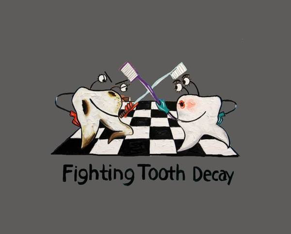 Painting - Fighting Tooth Decay by Anthony Falbo