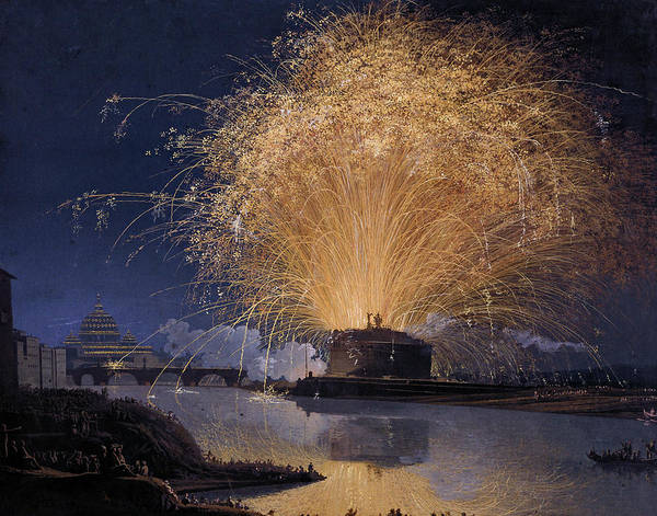 Wall Art - Painting - Fireworks Over Castel Sant'angelo In Rome by Jacob Philipp Hackert
