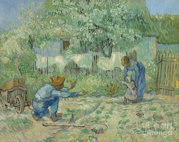 First Light Wall Art - Painting - First Steps, After Millet, 1890 by Vincent Van Gogh