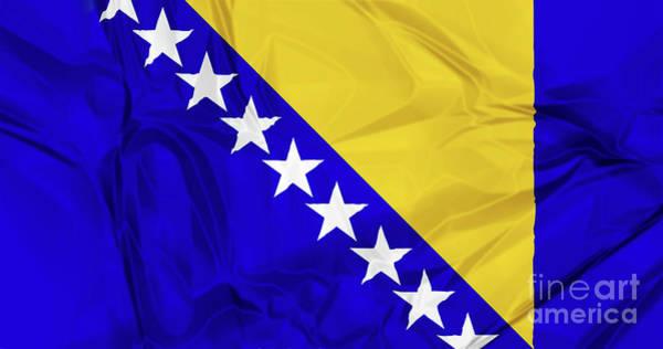 Digital Art - Flag Of Bosnia by Benny Marty