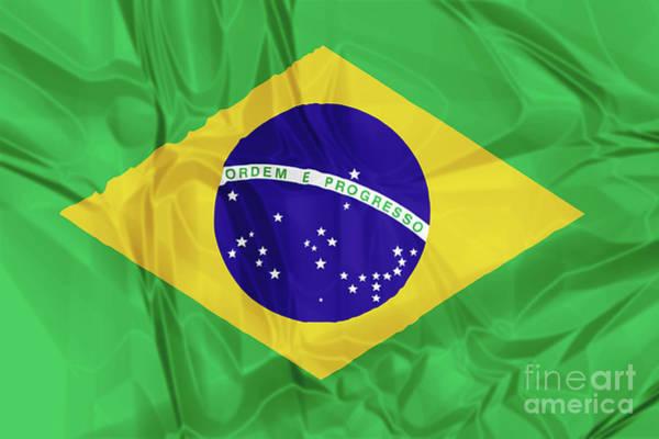 Digital Art - Flag Of Brazil by Benny Marty