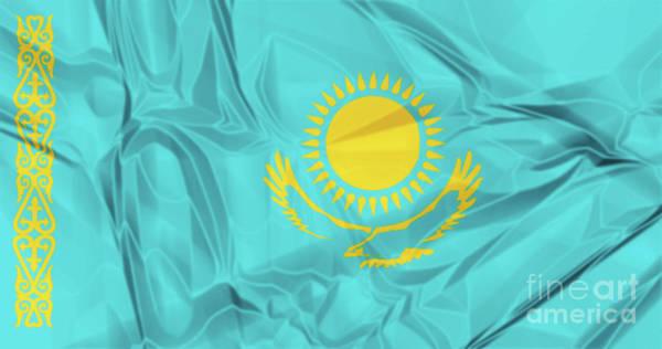 Digital Art - Flag Of Kazakhstan by Benny Marty