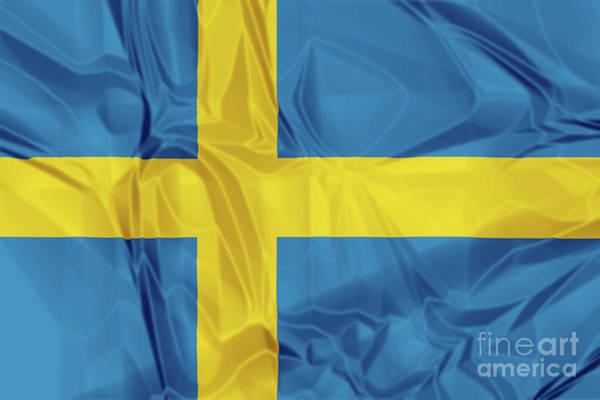 Digital Art - Flag Of Sweden by Benny Marty