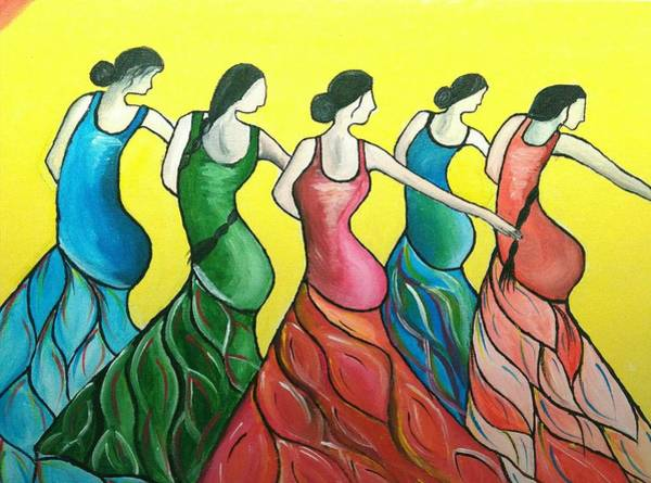 Wall Art - Painting - Flamenco Dancers by Anuradha Kumari