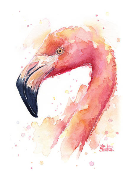 Flamingos Wall Art - Painting - Flamingo Watercolor  by Olga Shvartsur