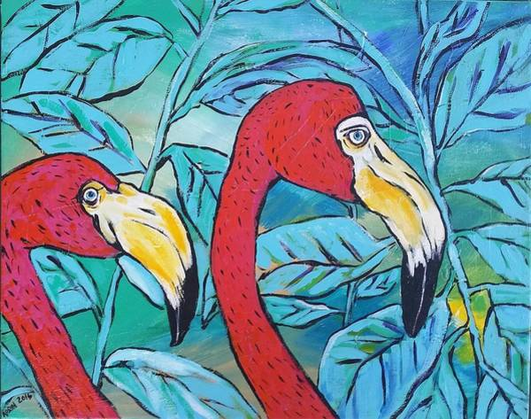 Wall Art - Painting - Flamingos  by Arrin Burgand