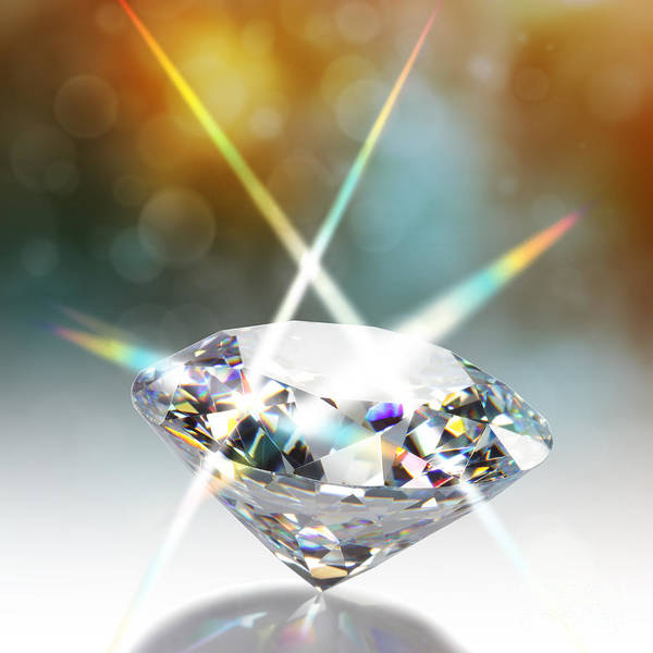 Jewels Digital Art - Flashing Diamond by Atiketta Sangasaeng