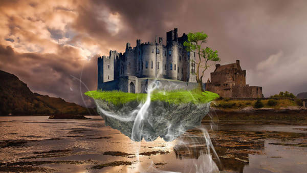Cloud Cover Mixed Media - Floating Castle by Marvin Blaine