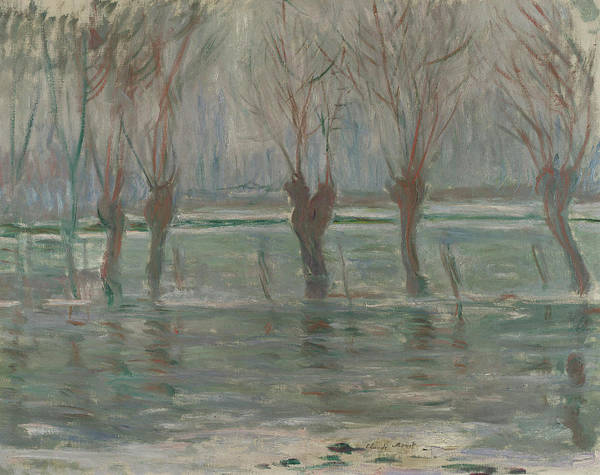 Waterway Painting - Flood Waters by Claude Monet
