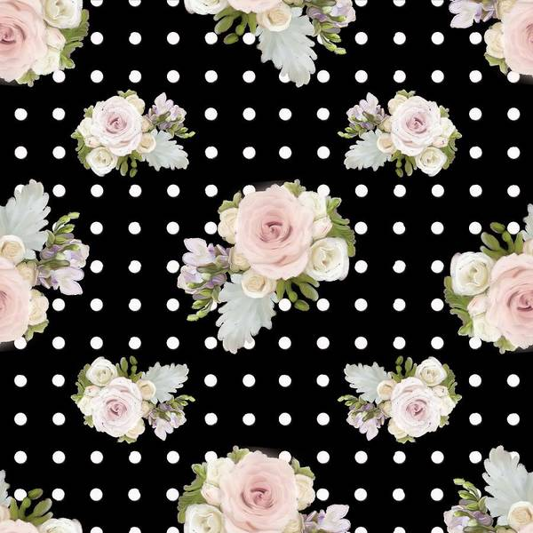 Girly Girl Painting - Floral Rose Cluster W Dot Bedding Home Decor Art by Audrey Jeanne Roberts