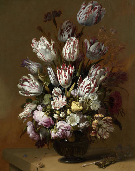 Dutch Tulip Painting - Floral Still Life by Hans Bollongier