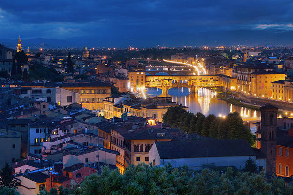 Photograph - Florence Skyline Night by Songquan Deng