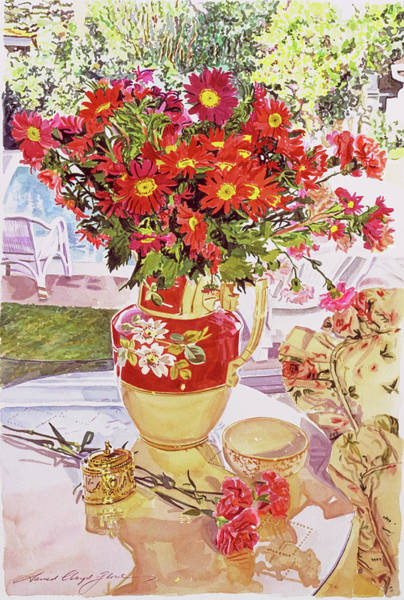 Wall Art - Painting -  Flower Jug In The Window by David Lloyd Glover