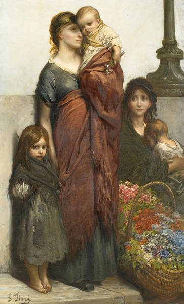 Painting - Flower Sellers Of London by Gustave Dore