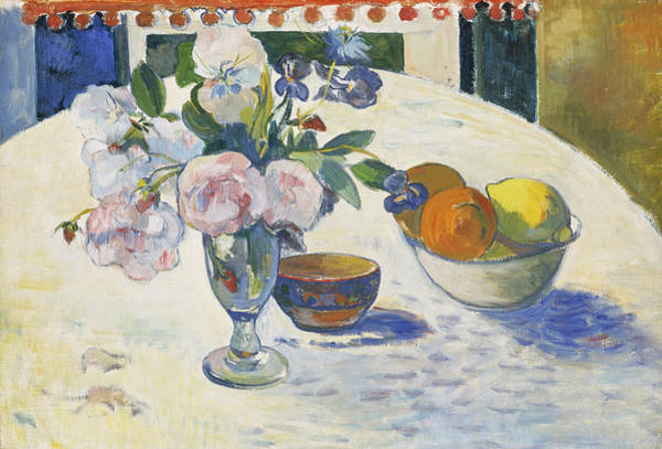 Wall Art - Painting - Flowers And A Bowl Of Fruit On A Table by Paul Gauguin