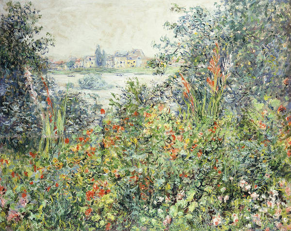 Vetheuil Wall Art - Painting - Flowers At Vetheuil by Claude Monet