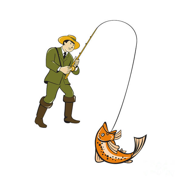 Wall Art - Digital Art - Fly Fisherman Catching Trout Fish Cartoon by Aloysius Patrimonio