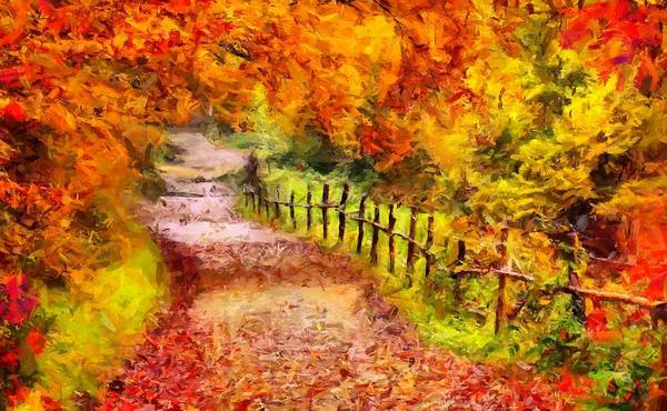 Digital Art - Fall Foliage Path 2 by Caito Junqueira