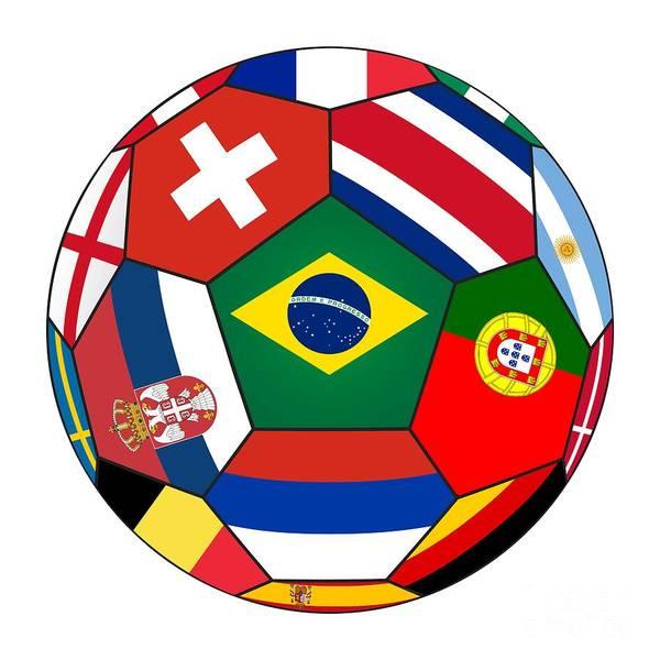 Wall Art - Digital Art - Football Ball With Various Flags by Michal Boubin